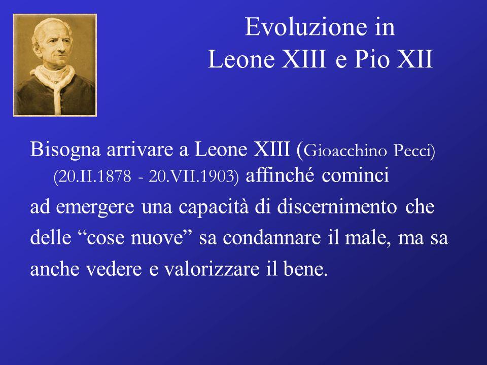 Evoluzione in Leone XIII e Pio XII