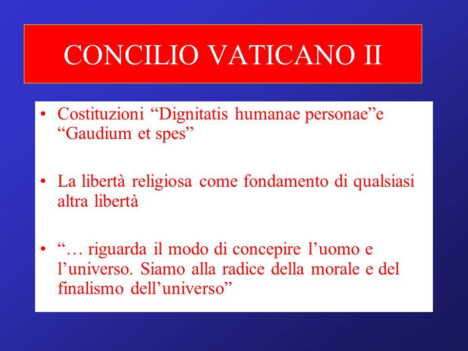 CONCILIO VATICANO II Costituzioni Dignitatis humanae personae e Gaudium et spes La libertà religiosa come fondamento di qualsiasi altra libertà.