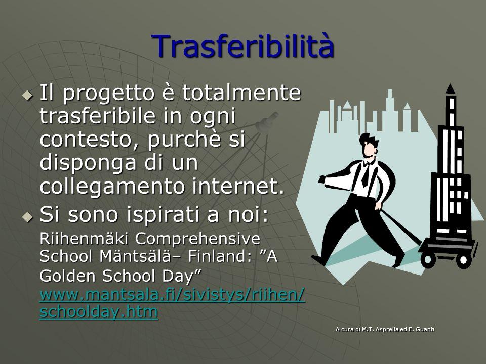 Trasferibilità Il progetto è totalmente trasferibile in ogni contesto, purchè si disponga di un collegamento internet.