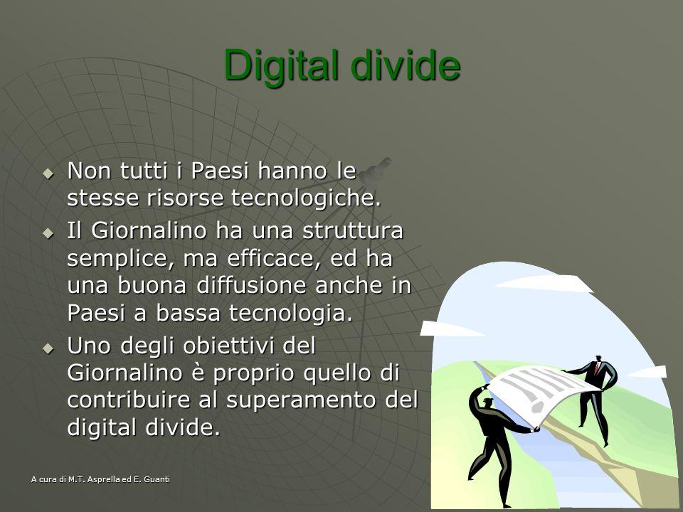 Digital divide Non tutti i Paesi hanno le stesse risorse tecnologiche.