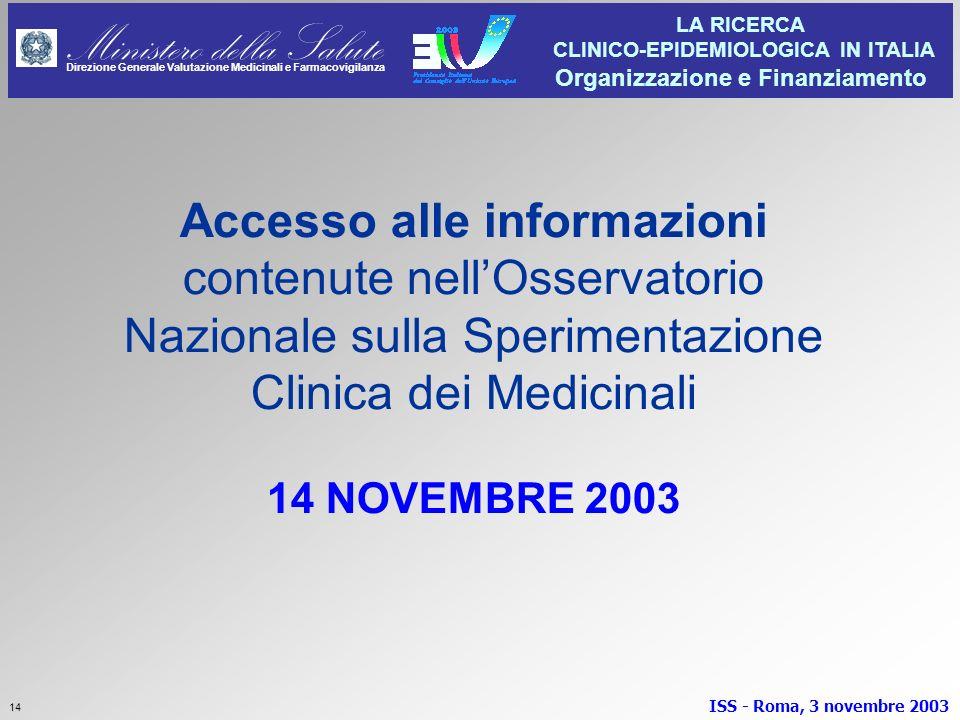 Accesso alle informazioni contenute nell'Osservatorio Nazionale sulla Sperimentazione Clinica dei Medicinali