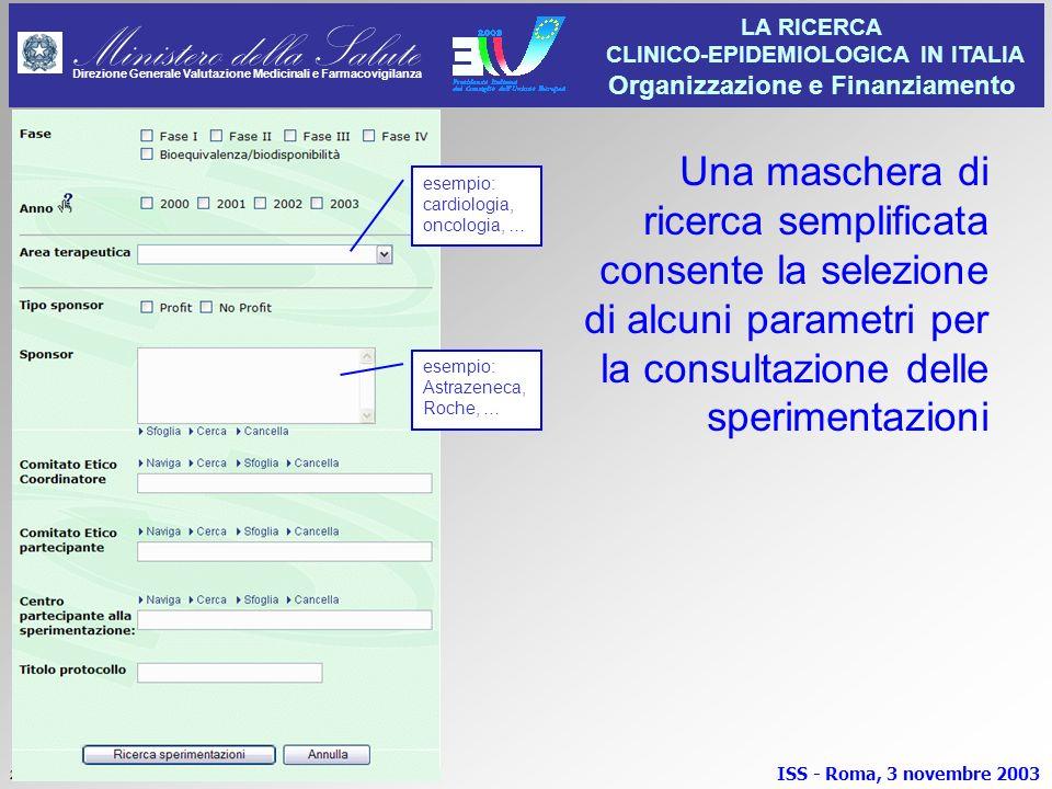 Una maschera di ricerca semplificata consente la selezione di alcuni parametri per la consultazione delle sperimentazioni