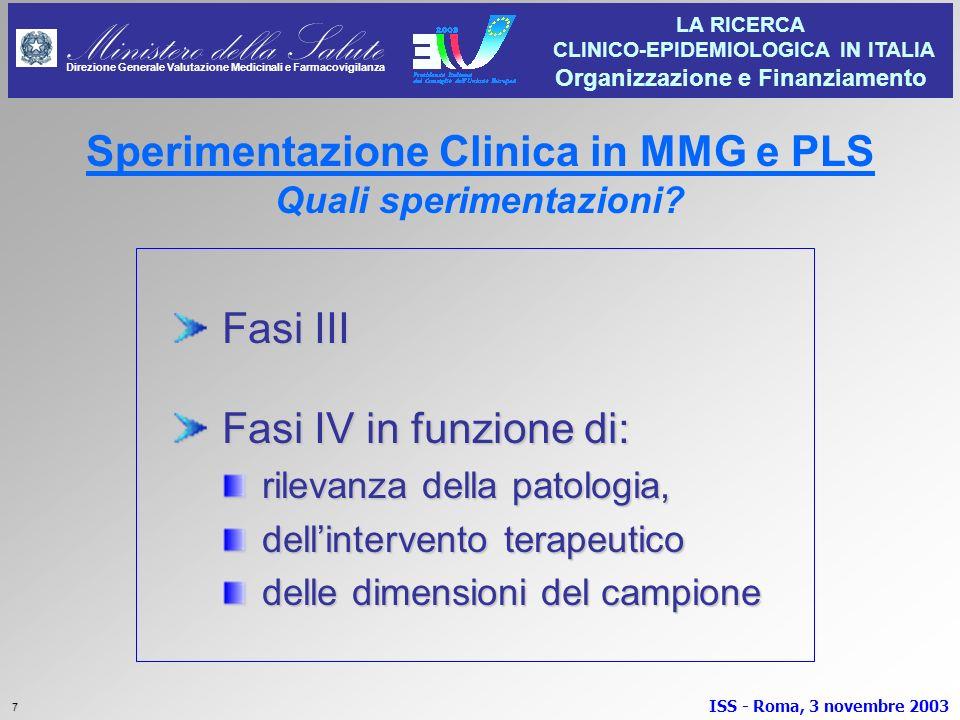 Sperimentazione Clinica in MMG e PLS Quali sperimentazioni