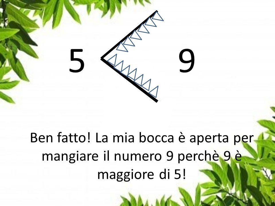 5 9 Ben fatto! La mia bocca è aperta per mangiare il numero 9 perchè 9 è maggiore di 5!