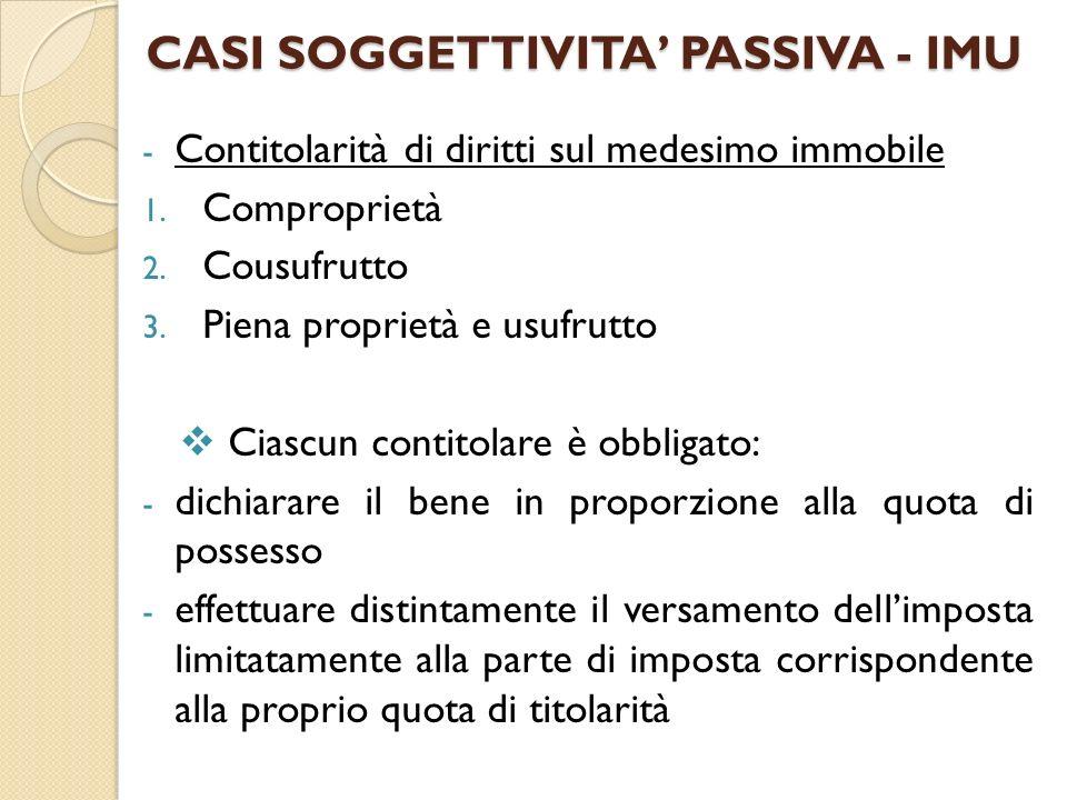 CASI SOGGETTIVITA' PASSIVA - IMU