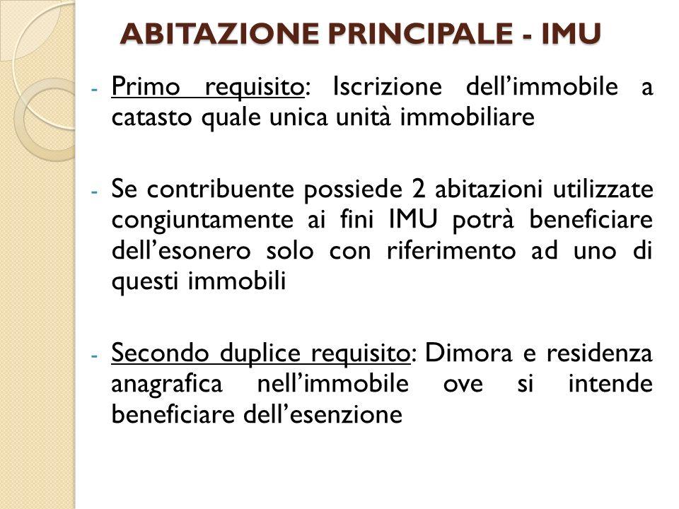 ABITAZIONE PRINCIPALE - IMU