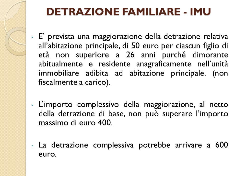 DETRAZIONE FAMILIARE - IMU