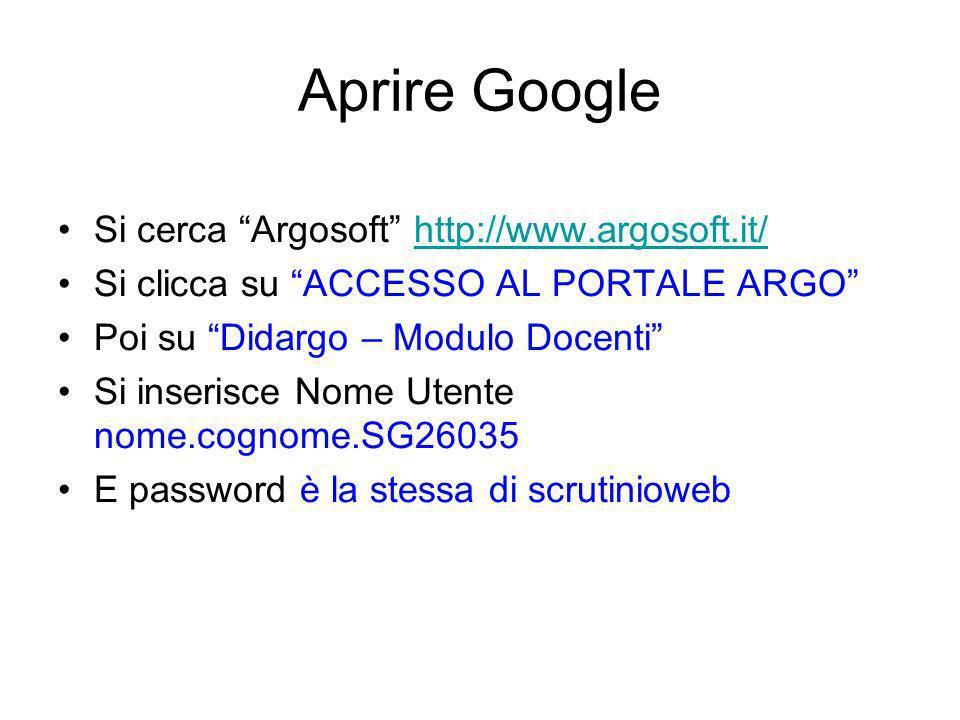 Aprire Google Si cerca Argosoft http://www.argosoft.it/