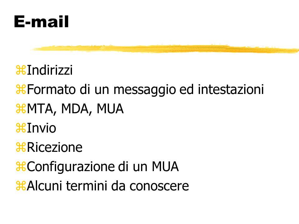 E-mail Indirizzi Formato di un messaggio ed intestazioni MTA, MDA, MUA