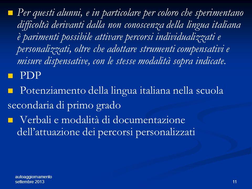 Potenziamento della lingua italiana nella scuola