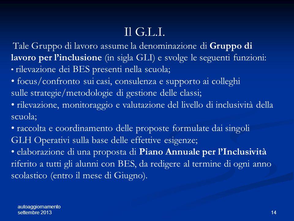 Il G.L.I. focus/confronto sui casi, consulenza e supporto ai colleghi