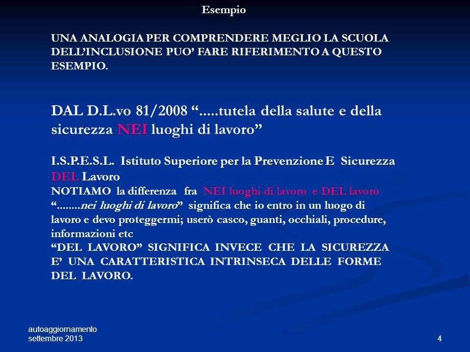 Esempio UNA ANALOGIA PER COMPRENDERE MEGLIO LA SCUOLA DELL'INCLUSIONE PUO' FARE RIFERIMENTO A QUESTO ESEMPIO.