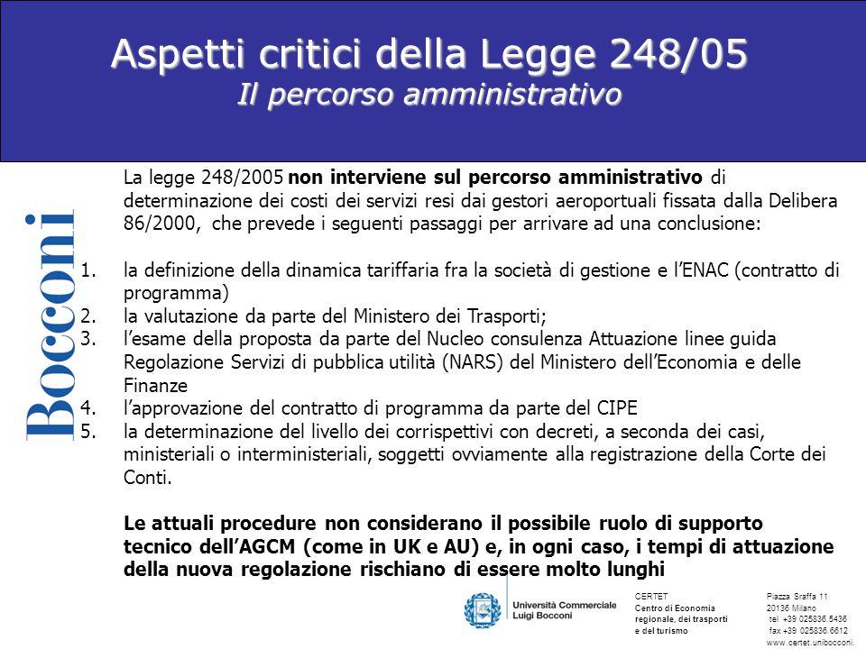 Aspetti critici della Legge 248/05 Il percorso amministrativo