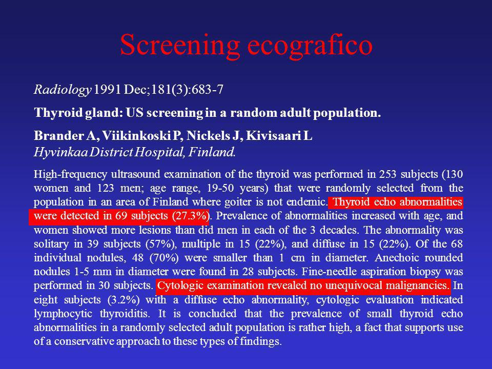 Screening ecografico Radiology 1991 Dec;181(3):683-7