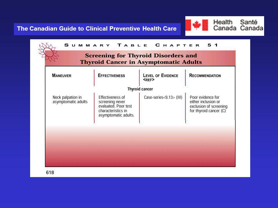 The Canadian Guide to Clinical Preventive Health Care