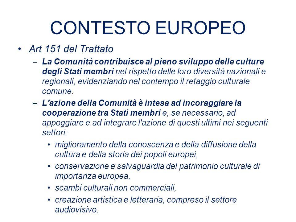 CONTESTO EUROPEO Art 151 del Trattato