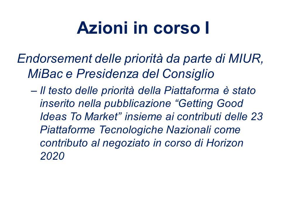 Azioni in corso I Endorsement delle priorità da parte di MIUR, MiBac e Presidenza del Consiglio.