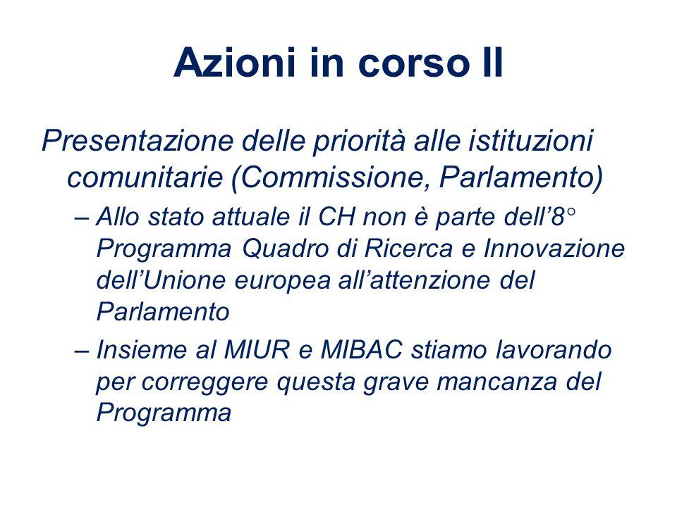 Azioni in corso II Presentazione delle priorità alle istituzioni comunitarie (Commissione, Parlamento)