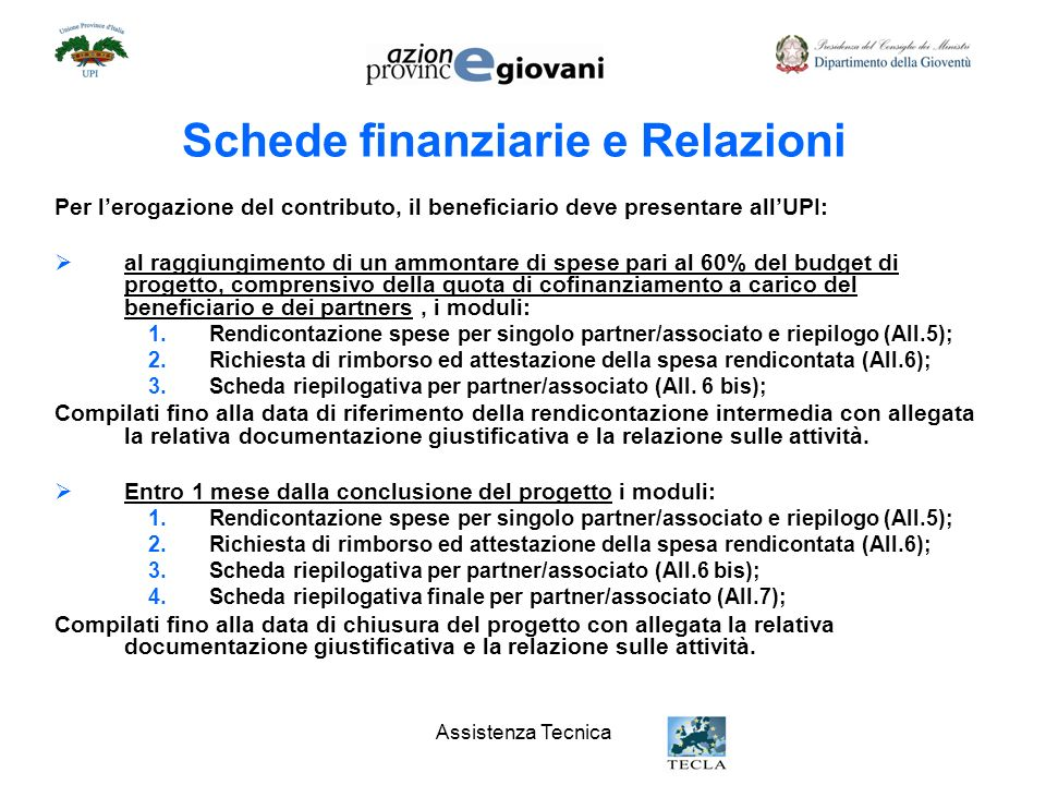 Schede finanziarie e Relazioni