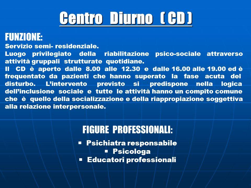 Centro Diurno ( CD ) FUNZIONE: FIGURE PROFESSIONALI: