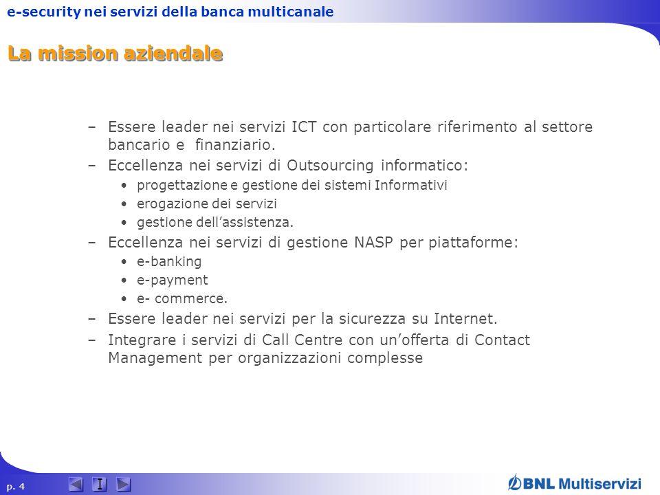 La mission aziendale Essere leader nei servizi ICT con particolare riferimento al settore bancario e finanziario.