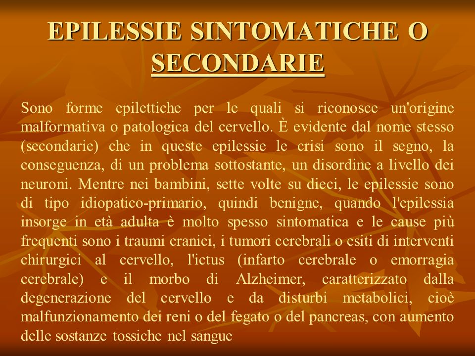 EPILESSIE SINTOMATICHE O SECONDARIE