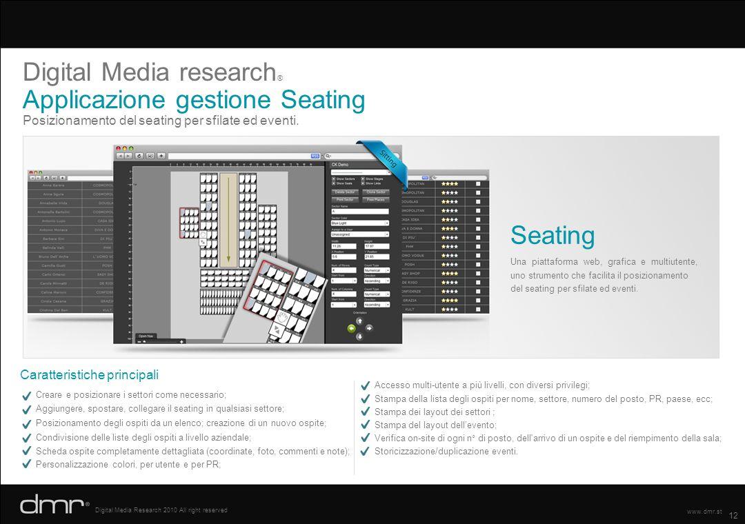 Digital Media research® Applicazione gestione Seating