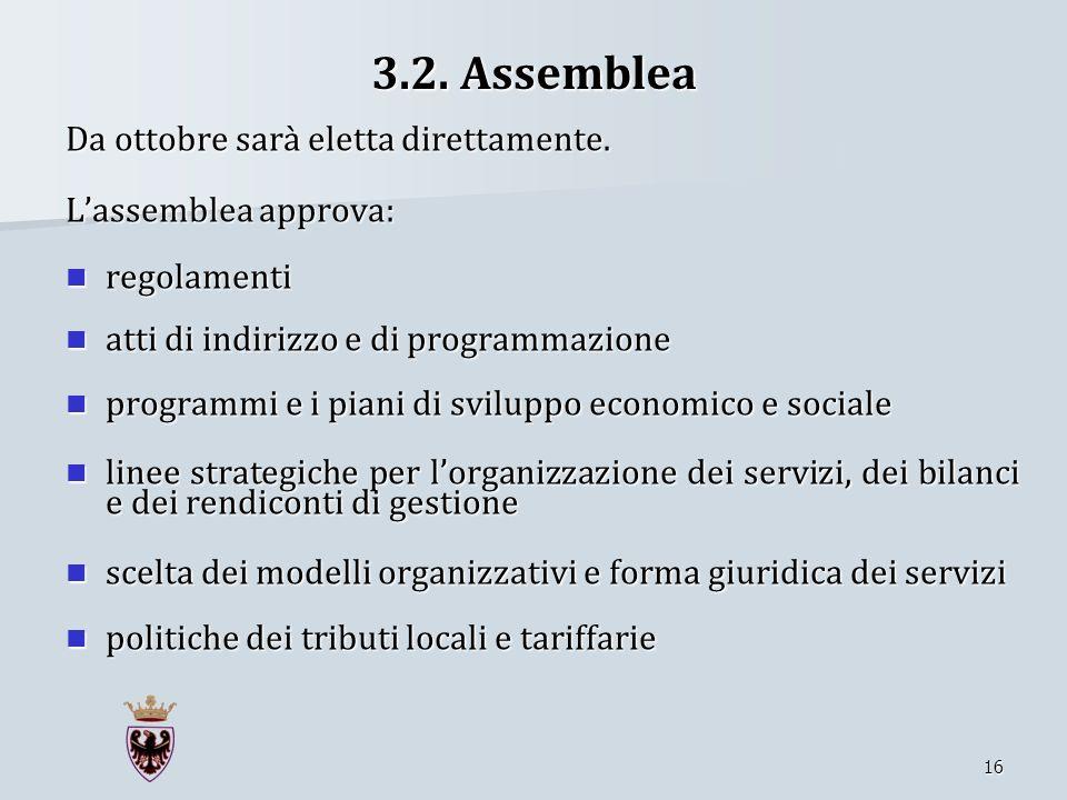 3.2. Assemblea Da ottobre sarà eletta direttamente.