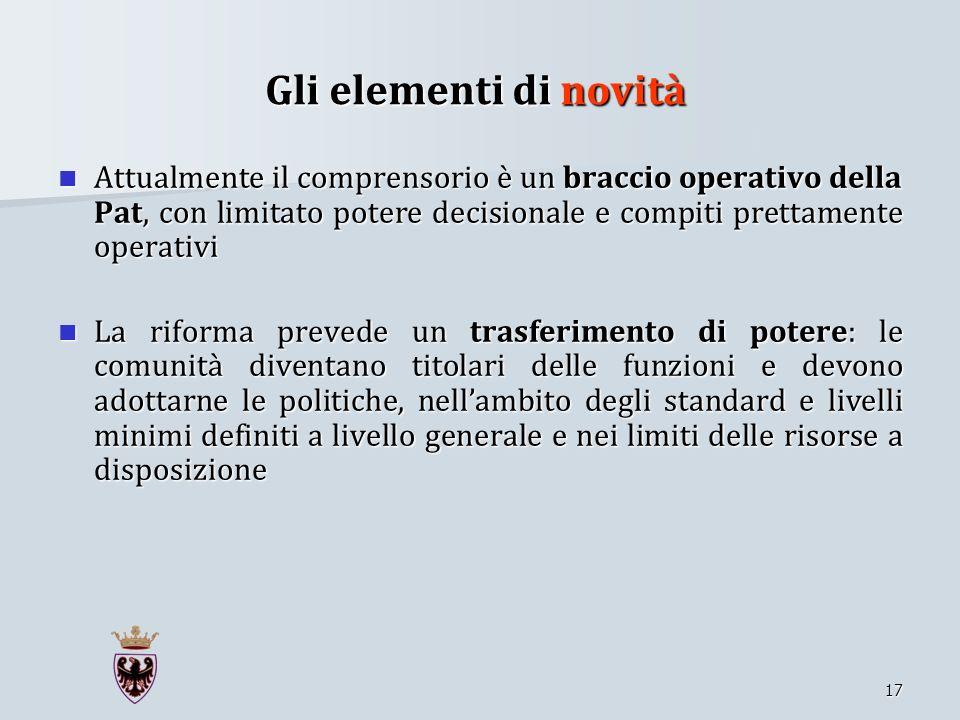 Gli elementi di novitàAttualmente il comprensorio è un braccio operativo della Pat, con limitato potere decisionale e compiti prettamente operativi.