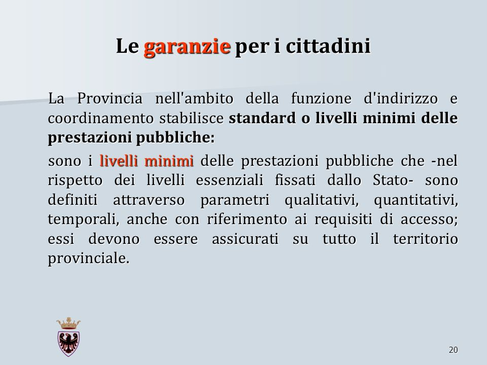 Le garanzie per i cittadini