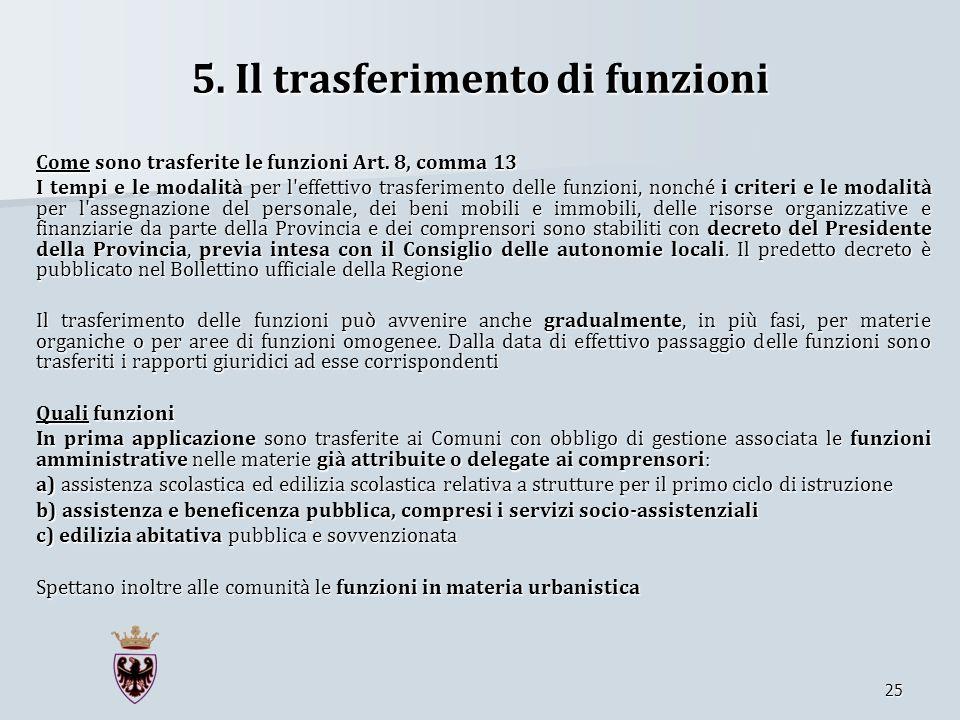 5. Il trasferimento di funzioni