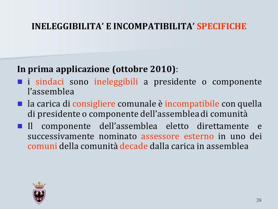 INELEGGIBILITA' E INCOMPATIBILITA' SPECIFICHE
