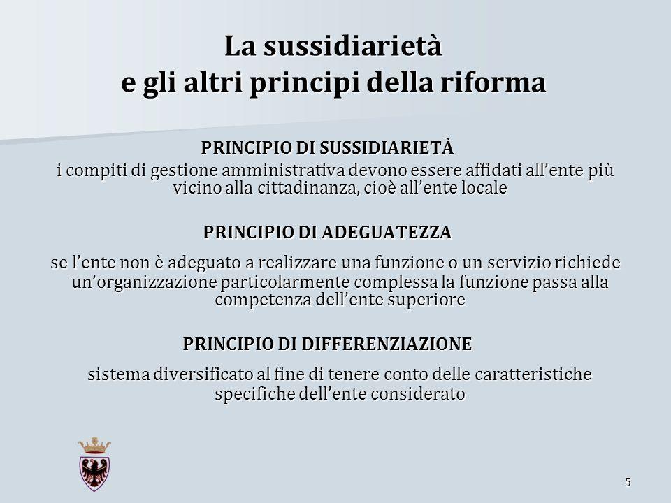La sussidiarietà e gli altri principi della riforma