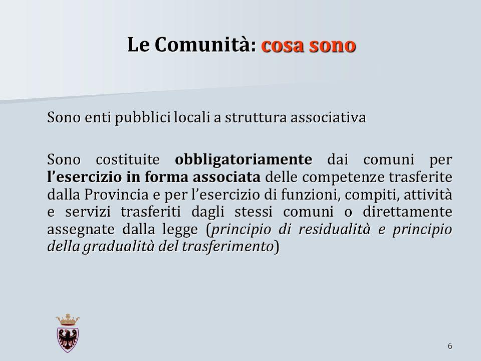Le Comunità: cosa sono Sono enti pubblici locali a struttura associativa.