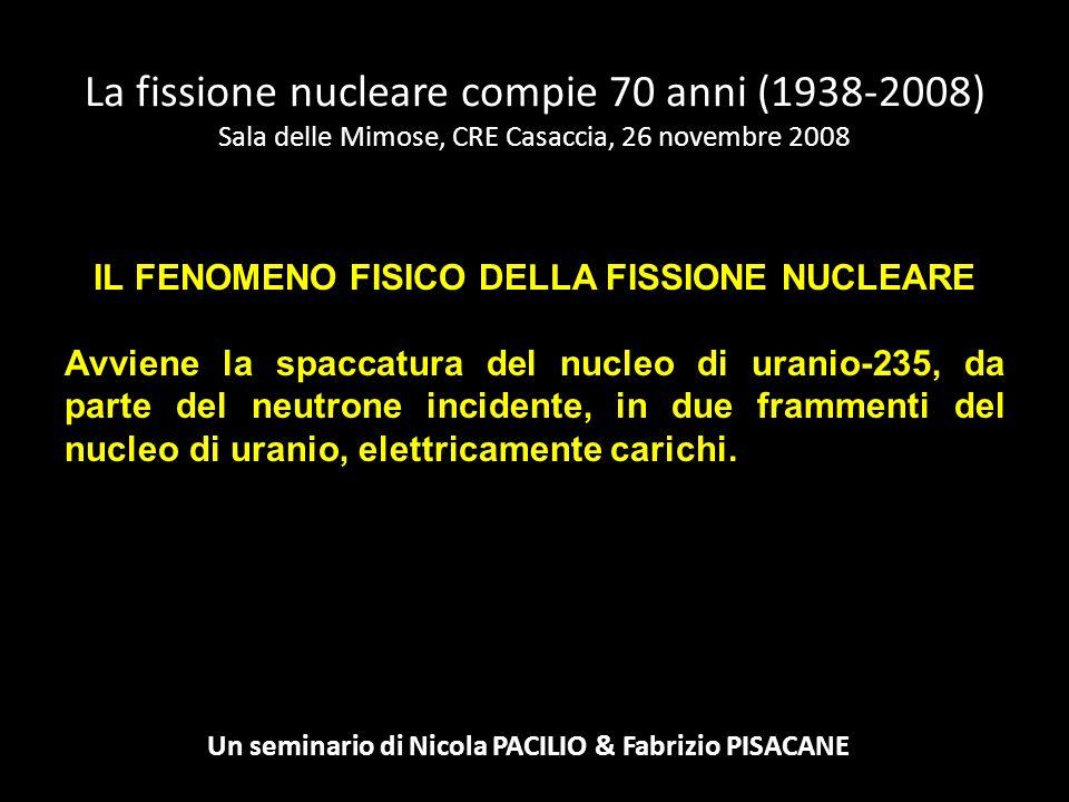 IL FENOMENO FISICO DELLA FISSIONE NUCLEARE