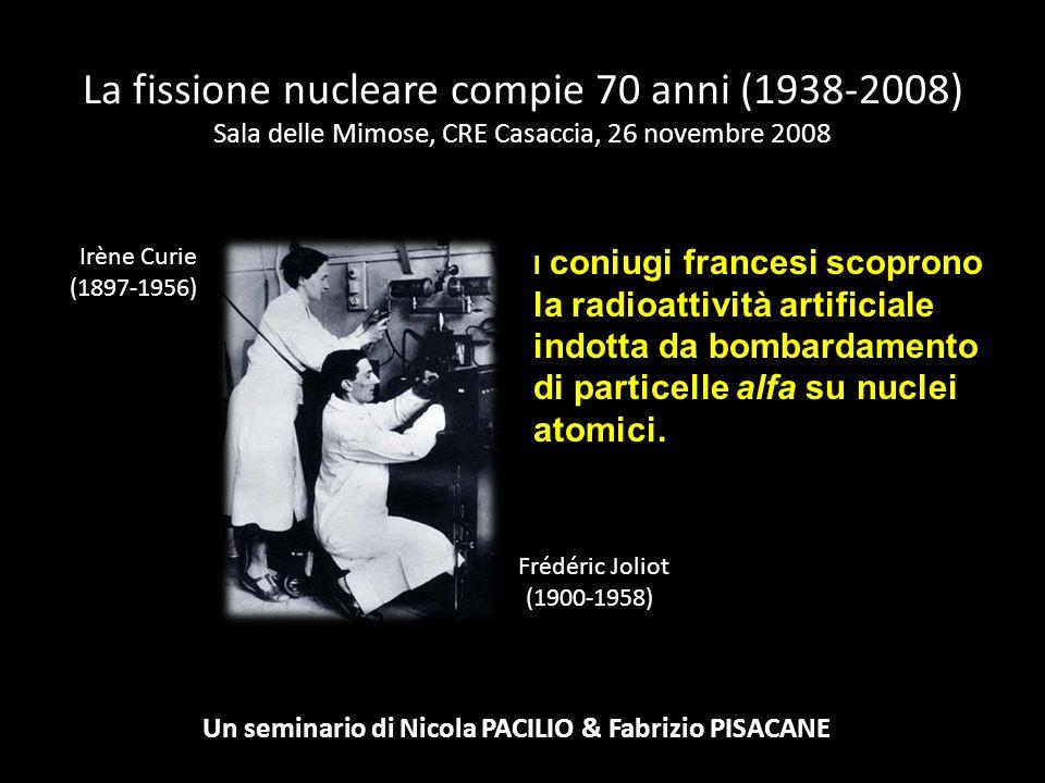 La fissione nucleare compie 70 anni (1938-2008) Sala delle Mimose, CRE Casaccia, 26 novembre 2008