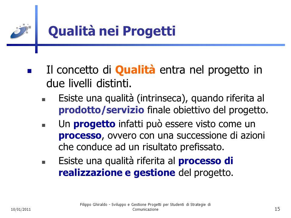 Qualità nei Progetti Il concetto di Qualità entra nel progetto in due livelli distinti.