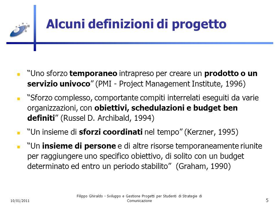 Alcuni definizioni di progetto