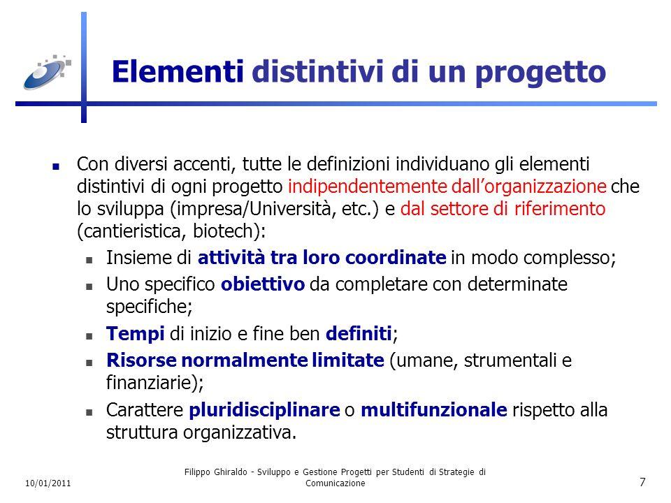 Elementi distintivi di un progetto
