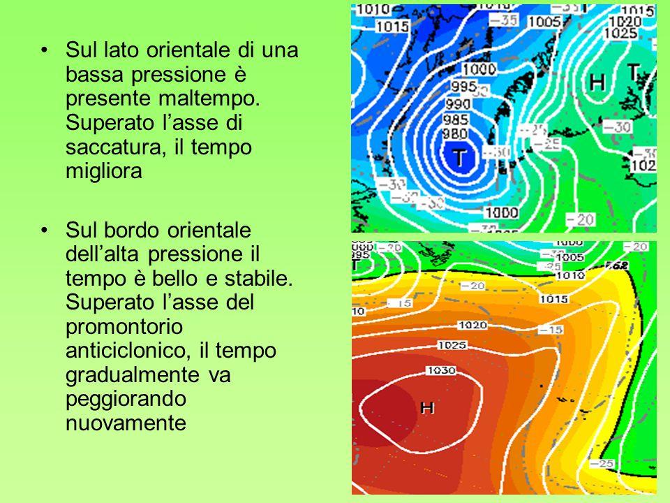 Sul lato orientale di una bassa pressione è presente maltempo