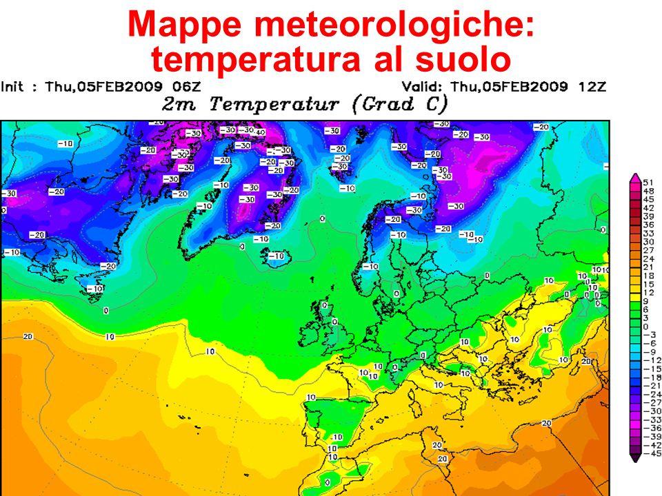 Mappe meteorologiche: temperatura al suolo