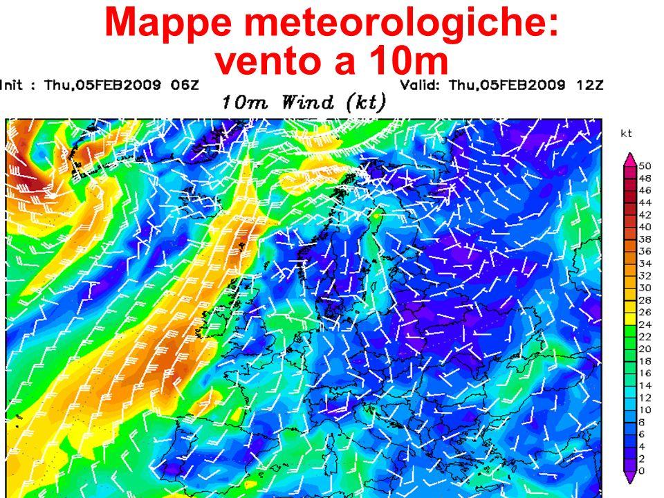 Mappe meteorologiche: vento a 10m