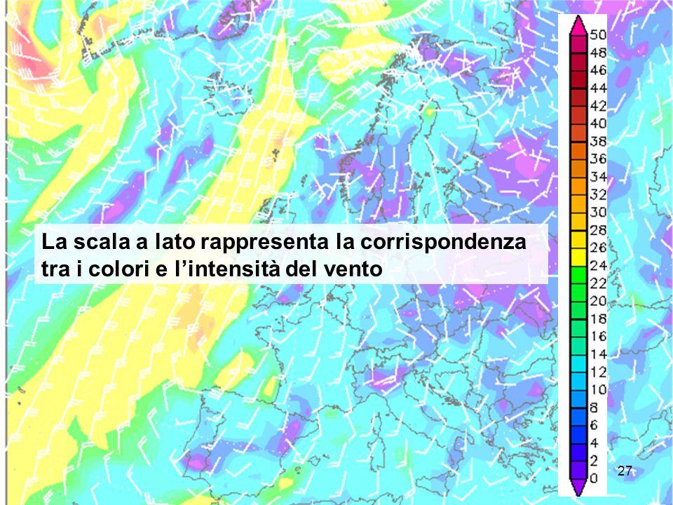 La scala a lato rappresenta la corrispondenza tra i colori e l'intensità del vento