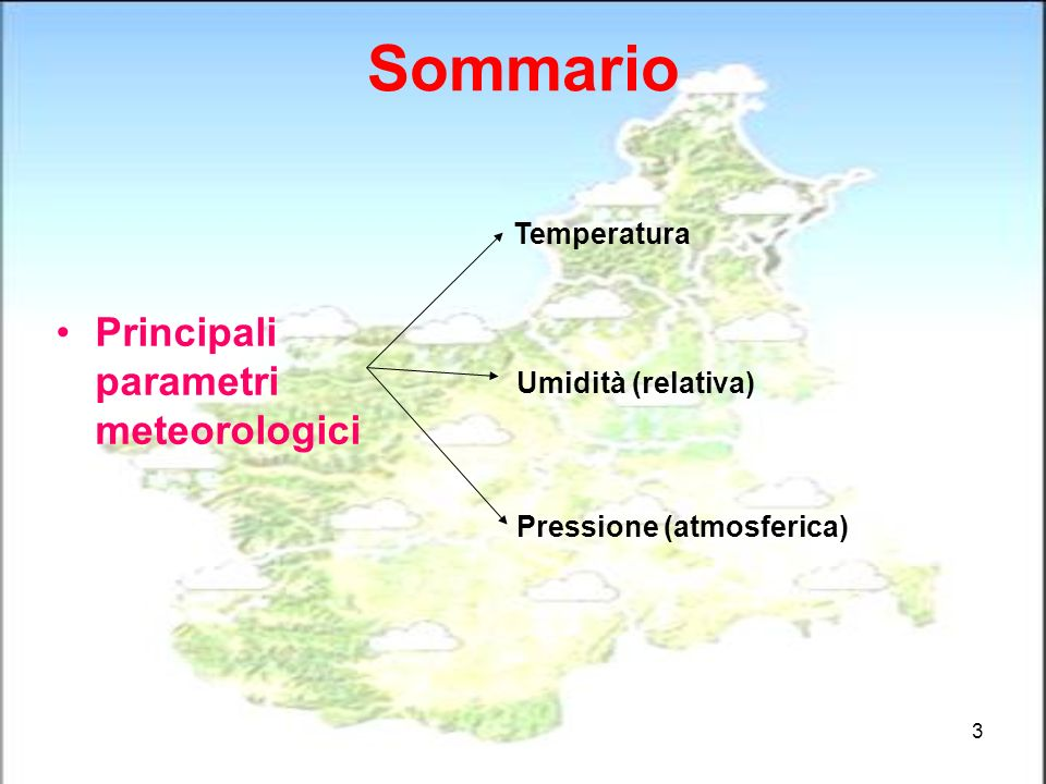 Sommario Principali parametri meteorologici Temperatura