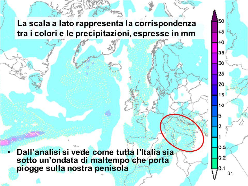 La scala a lato rappresenta la corrispondenza tra i colori e le precipitazioni, espresse in mm