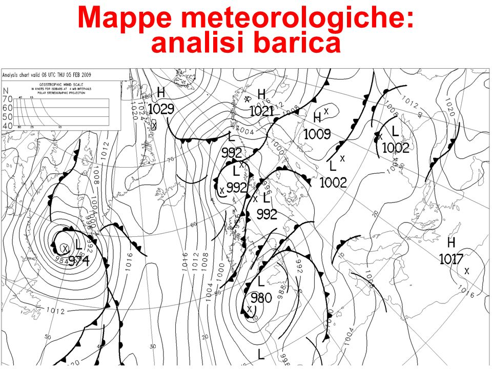 Mappe meteorologiche: analisi barica