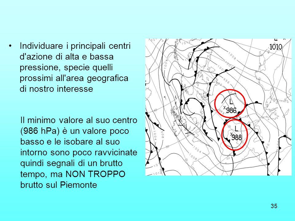 Individuare i principali centri d azione di alta e bassa pressione, specie quelli prossimi all area geografica di nostro interesse