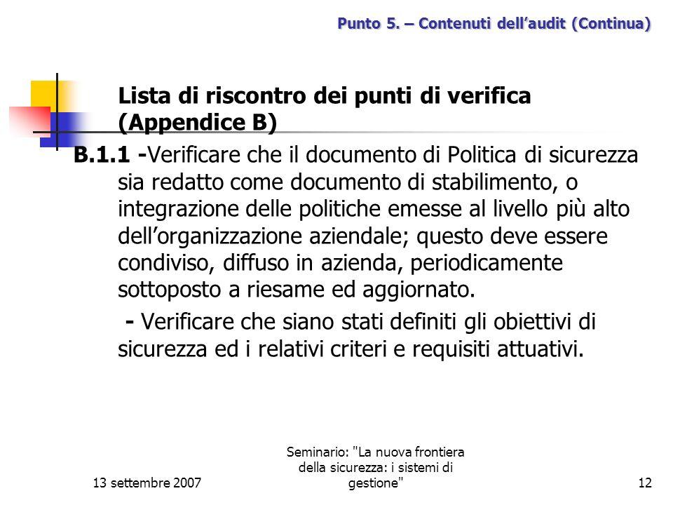Punto 5. – Contenuti dell'audit (Continua)