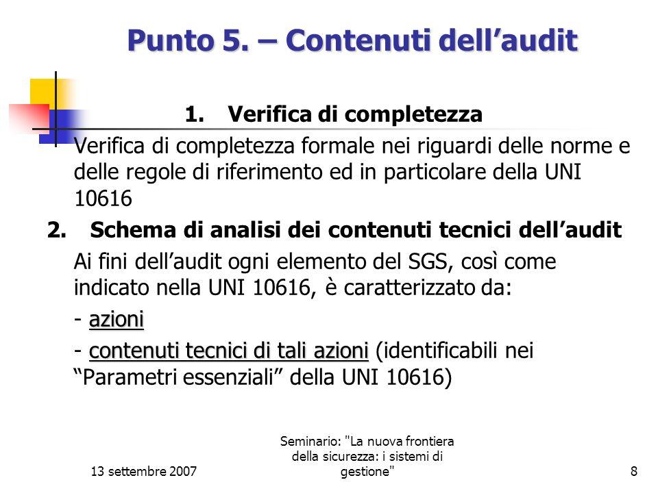 Punto 5. – Contenuti dell'audit