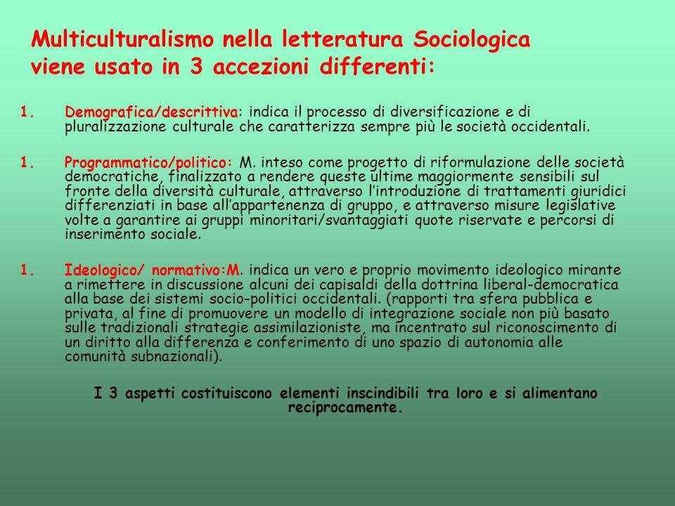 Multiculturalismo nella letteratura Sociologica viene usato in 3 accezioni differenti:
